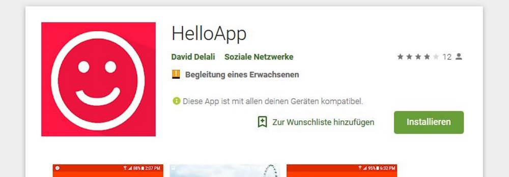 Screenshot Hello App Sprachpartner Suche