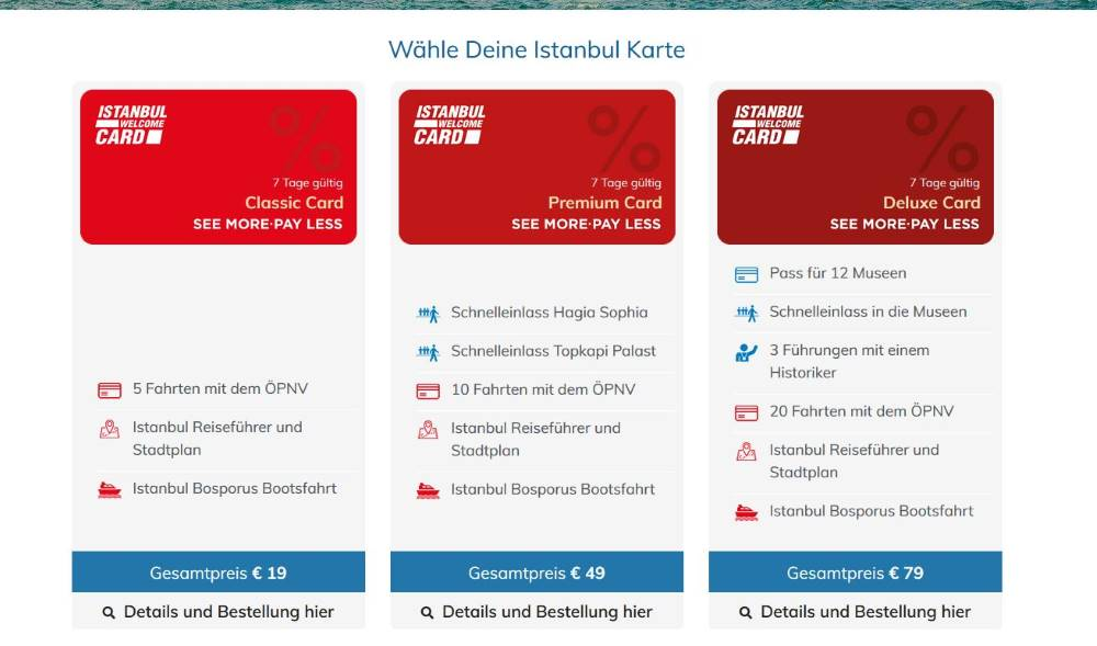 Screenshot Istanbul Welcome Card Classic, Premium und Deluxe
